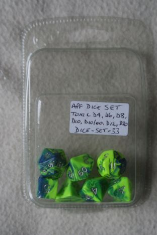 APF DICE-SET-33 (D4, D6, D8, D10, D10/00, D12 & D20) Toxic Poly Dice Set Green